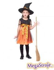 Kostium dziecięcy Wiedźma czarno-pomarańczowa