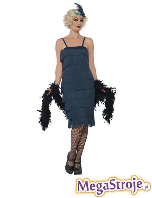 Kostium Flapper turkusowy