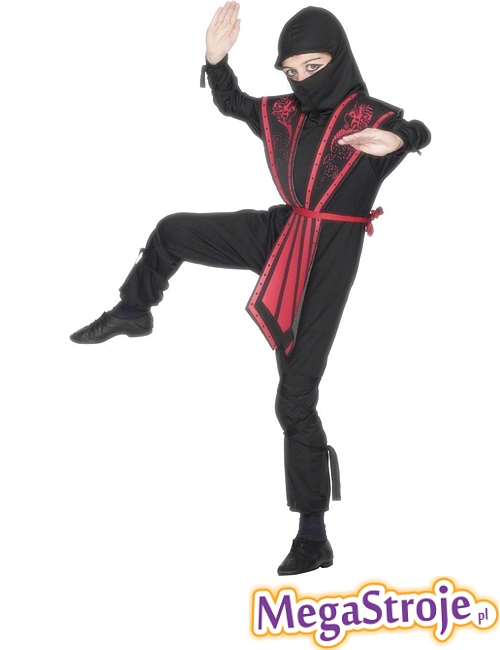 Kostium dziecięcy Ninja czarno-czerwony