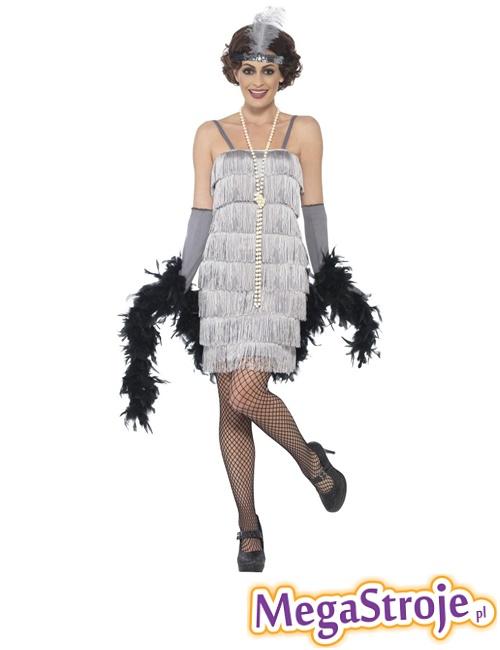 Kostium Sexy Flapper srebrny